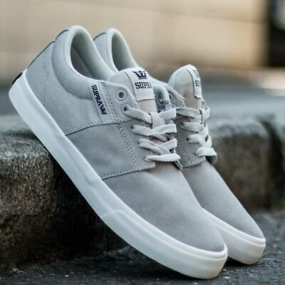6c3fdd8f42 SUPRA STACKS VULC II Skate Shoes In Light Grey Suede Sneakers Size ...