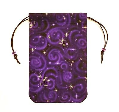 "Purple Tarot Bag Drawstring Pouch 5""x7"" lined, for card decks - Stargazer"