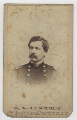 CDV 1862 Civil War General George B. McClellan - R. W. Addis Imprint