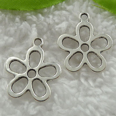 Free Ship 200 pieces tibet silver flower charms 25x21mm #823