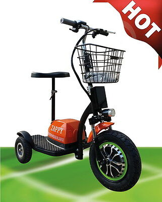 500w Orange Zappy ! Golfcart Fun Electric Scooter Tricycle up to 20km/H