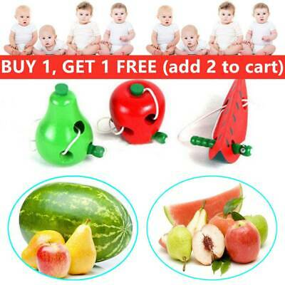 Apple/Watermelon/Pear Wooden Toy Lacing Game Montessori Puzzle Threading
