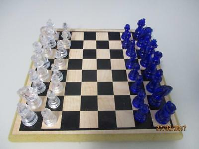 Small Travel CHESS SET Cobolt Blue & Clear Pieces & Customwood Board 20cm sq VGC