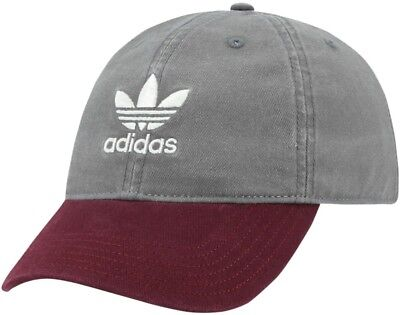 Brand New adidas Originals Washed Relaxed Strapback Mens Grey Burgundy e959a5f1424
