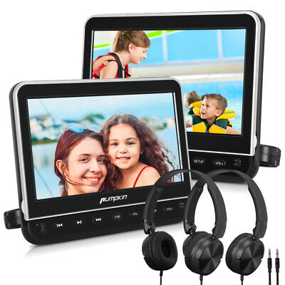 "2X 10.1"" Digital Screen Portable In-Car Headrest Monitor DVD Player AV USB SD"