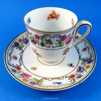 Floral Garland Dresden Style Schumann Made in Germany Demitasse Tea Cup & Saucer