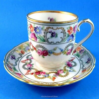 Floral Garland Schumann Bavaria Germany Demitasse Tea Cup and Saucer Set