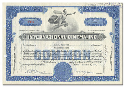 International Cinema, Inc. Stock Certificate