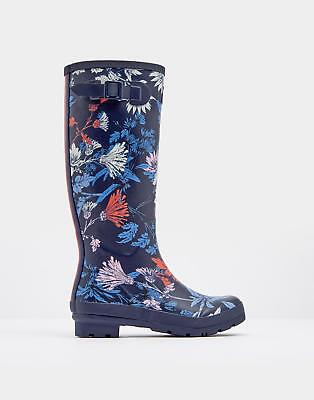 Joules Womens Printed Wellies Boots in 100% Rubber in French Navy Fay Floral