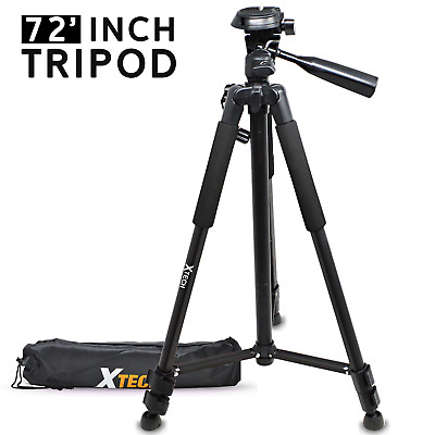 Xtech Pro Series 72' inch Tripod with Carrying Case, 3 way Pan-Head