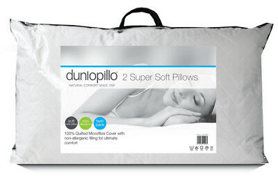 Dunlopillo Super Soft Pillow Pack of 2 Soft Support Non-Allergenic Filling