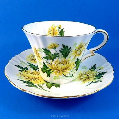 Royal Standard Yellow Chrysanthemum Romance Signed F F Errill Tea Cup and Saucer