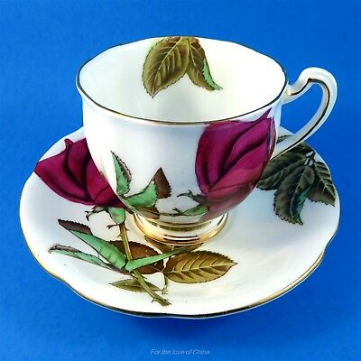 Hand Painted Deep Red English Rose Royal Standard Tea Cup and Saucer Set