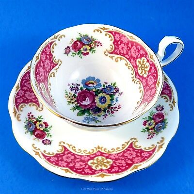 Bright Deep Pink and Floral Rose Border Royal Standard Tea Cup and Saucer Set