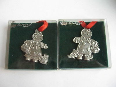 Longaberger Roger & Ginger Pewter Christmas Tree Ornaments Gingerbread People