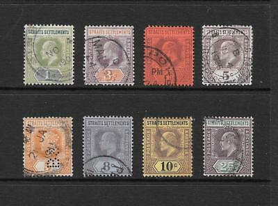 1902 King Edward VII SG110 to SG116 short set x 8 stamp Used STRAITS SETTLEMENTS