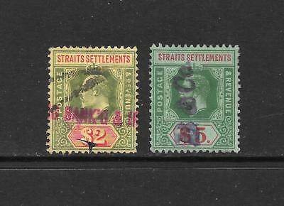1902 King Edward VII SG166 $2 SG240a $5  higher values Used STRAITS SETTLEMENTS