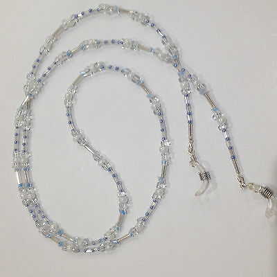 Handmade Beaded Glasses Chain (with a hint of blue)