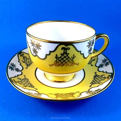 Bright Yellow with White and Gold Motif Standard Tea Cup and Saucer Set