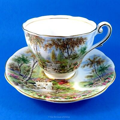 "Pretty Scenic Royal Standard "" The Old Mill Stream "" Tea Cup and Saucer Set"