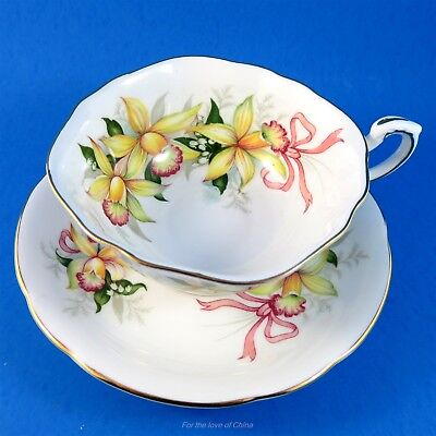 Yellow Orchids with Pink Ribbons Royal Standard Tea Cup and Saucer Set