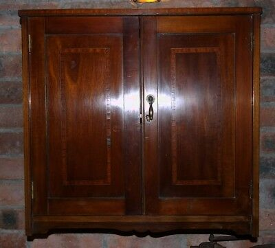 Antique Edwardian small inlaid mahogany wall mounted HANGING CUPBOARD CABINET