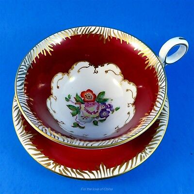 Pretty Radfords Fenton Handpainted Floral & Deep Red Border Tea Cup and Saucer