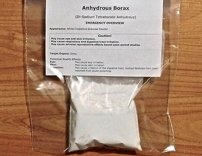 BORAX Anhydrous 200g 7oz for  Ceramic GLAZING Casting CRUCIBLE FLUX Dehydrated