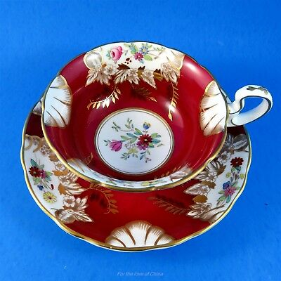 Deep Red with Hand Painted Florals and Gold Radfords Fenton Tea Cup and Saucer