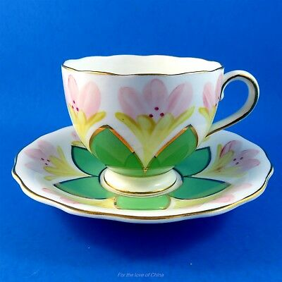 Pretty Radfords Yellow Floral & Green Star Tea Cup and Saucer Set