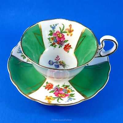 Emerald Green Panels with Floral Bouquets Radfords Tea Cup and Saucer Set