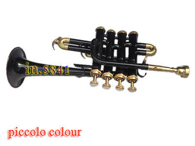 Awesome Piccolo Trumpet_Black/brass-Fully Tuned Bb/a Pitch Great Sound W/case&mp