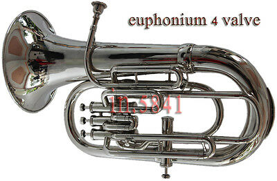 Euphonium 4Valve Bb/f_Pitch Nice*finish&sound*w/case&mp Tuba Chrome Finish