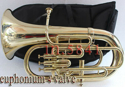 New Euphonium-4Valve-Bb-F-Pitch-Good_Finish-Sound-W-Case-Mp-Tuba-Brass-Finish
