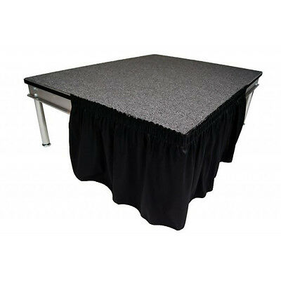 "Stage Skirting 8"" High Black Shirred Pleat Flame Retardant Polyester. In Stock!"