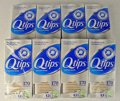 Lot 8 Boxes Q-Tips 100% Pure Cotton Swabs 170 Each 1360 Total