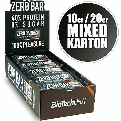 BioTech Zero Bar Mixed Box Low Carb Snack Mix Karton 10er / 20er Eiweiss Riegel