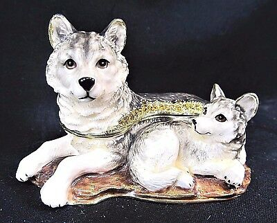 Wolf Mom and Pup lying down Jeweled Pewter Trinket Box w/ Necklace Wildlife