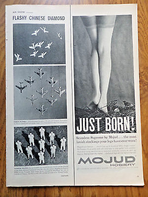 1959 Mojud Nylon Hosiery Stockings Ad  Just Born Seamless Supreme