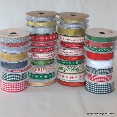 Christmas Ribbon Reels Satin Grosgrain Twill Huge Selection 3mm to 25mm wide
