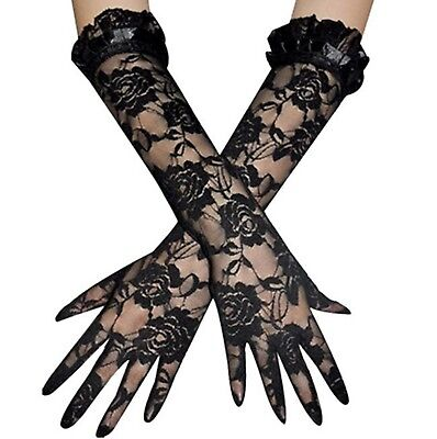 Long BLACK ROSE LACE Design Stretch Gloves GOTH Fancy Dress HALLOWEEN