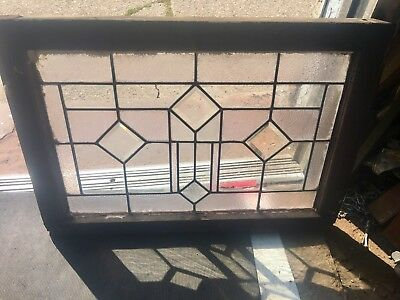 Rare Old American Heavy Beveled Diamond Geometric Leaded Windows 4 Diamonds