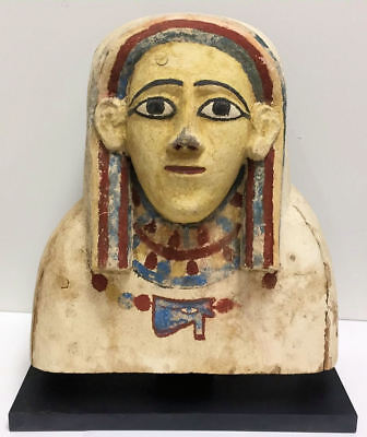 Ancient Egyptian upper part of a Sarcophagus lid, Late period c.715-330 BC.