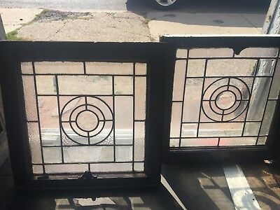 Rare Old Pair Small Circular Heavy Beveled Leaded Glass Windows
