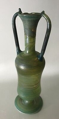 "Green Ambers Israel Glass VASE Amphora Roman Jug IM Holy Land pitcher 6"" Tall"