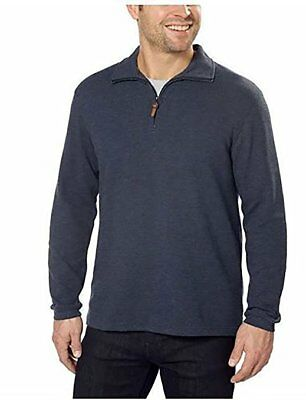 Hudson River Men's Long Sleeve 1/4 Zip Pullover  Midnight Heather Size S