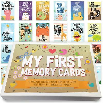 Pack Of 40 Babies 1st Year Memorable Moments Milestone Cards Baby Shower - Boy