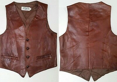 Vintage AMERICAN EAGLE OUTFITTERS BROWN LEATHER VEST - Mens S - Rare!
