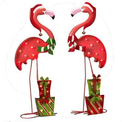 """NEW 32"""" Battery Operated Lighted Metal Flamingo Christmas Decorations 2273420"""