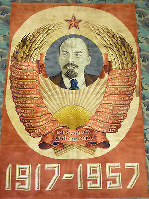 Wandteppich, Oktoberrevolution, Lenin, GDR, Wall carpet, October revolution 1917